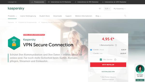 Kasperky VPN Erfahrungen und Test