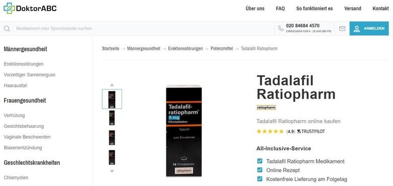 Tadalafil-ratiopharm bei DoktorAbC